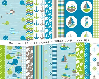 Nautical No. 5 digital scrapbooking paper pack -19 printable lime green, blue & brown jpeg papers, 12x12, 300 dpi - instant download