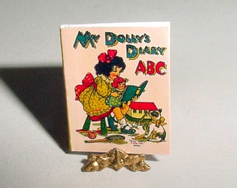 Miniature Book - My DOLLYS DIARY ABC - Raphael Tuck - Childrens Dollhouse Miniature One Inch 1/12 Scale Nursery Toys Alphabet Book Accessory