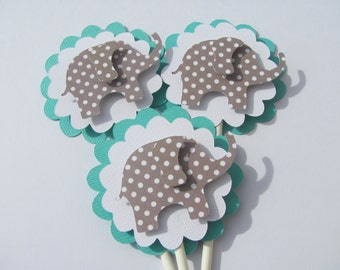 Cupcake Toppers, Set of 12, Turquoise and Grey polka dot elephant cupcake toppers, baby shower decorations