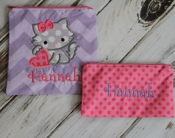 Kitty Cat Applique on Personalized Reusable Sandwich & Snack Bags with Zipper Closure