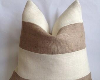 Cream Burlap and Natural Burlap Striped Pillow Cover