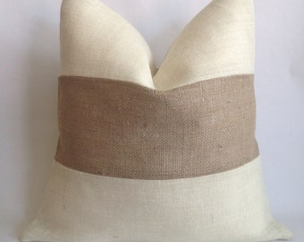 Horizontal Two Tone Burlap Pillow Cover