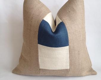 Blue And Cream Burlap Stripe and Natural Burlap Nautical Pillow Cover