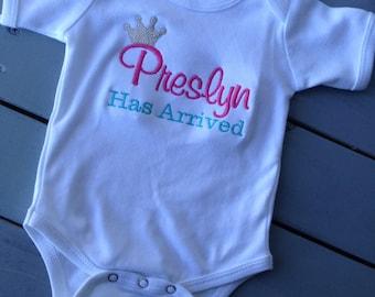 Princess Has Arrived Custom Name Boutique Shirt