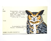Owl Library Card Art - Print of my painting of great horned owl on library card for Owl in the Garden