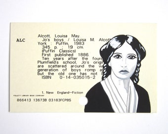Louisa May Alcott Library Card Art - Print of my painting of Little Women author on library card