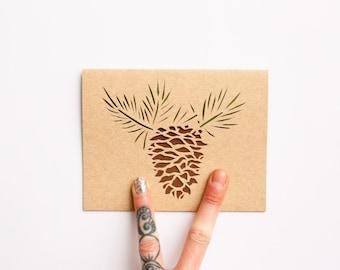 Winter Pine Cone Card: Laser Cut--Limber Pine--Colorado