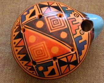 Tribal Peruvian ceramic Ocarina, hand held whistle, clay flute
