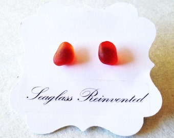 Amberina Red Sea Glass Earrings - Sterling Silver Posts - Genuine Sea Glass Jewelry
