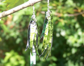 Upcycled Jewelry, Recycled Soda Can Shaggy Dangle Earrings