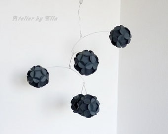 Graphite dark gray paper mobile, Hanging mobile, Paper balls mobiles, Home decor