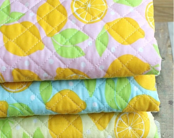 Machine Quilted Cotton Blend Fabric Fresh Lemons - Pink, Blue or Yellow - By the Yard 36687