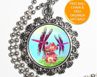 Purple Dragonflies and Flowers Digital Art Pendant, Colorful Insects and Pink Flowers Resin Art Pendant, Photo Pendant