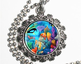 Tropical Ocean Fish Art Pendant, Colorful Seabed Resin Pendant Charm Necklace