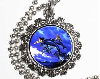 Mermaid and Dolphins at Sea Art Pendant, Blue Paradise Resin Pendant Charm Necklace
