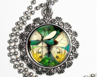 Clock, Yellow Butterfly & Green Dragonfly Art Pendant, Steampunk Resin Charm Necklace