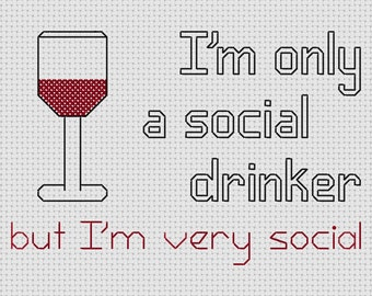 Funny Cross Stitch Pattern Social Drinker Wine Glass