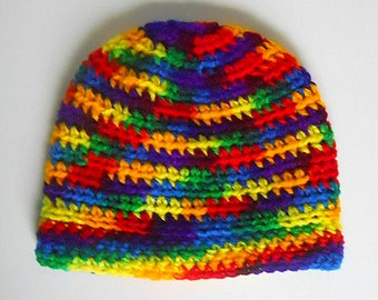 Ready To Ship Newborn To Adult Rainbow Hat Toddler Pre Teen Girl Cap  Baby Boy Winter Beanie Red Blue Green Yellow Fall  Skullcap