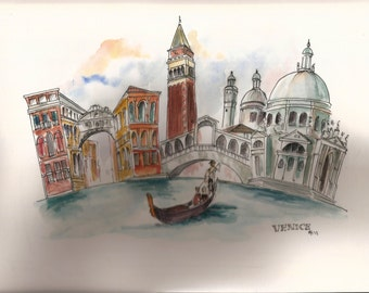 Watercolour cityscape of Venice, Italy