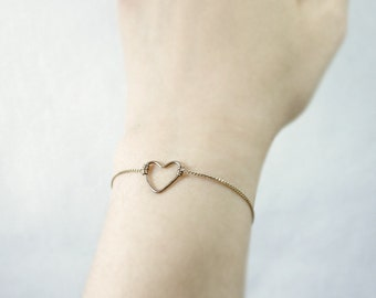 Heart bracelet - thin antique gold bracelet - delicate dainty - gift for her - valentines