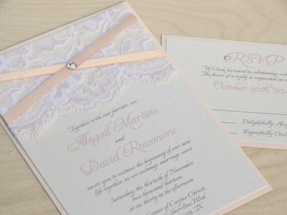 Blush And Ivory Wedding Invitations: LAILA: Dainty Lace Wedding Invitation Blush And Ivory Wedding