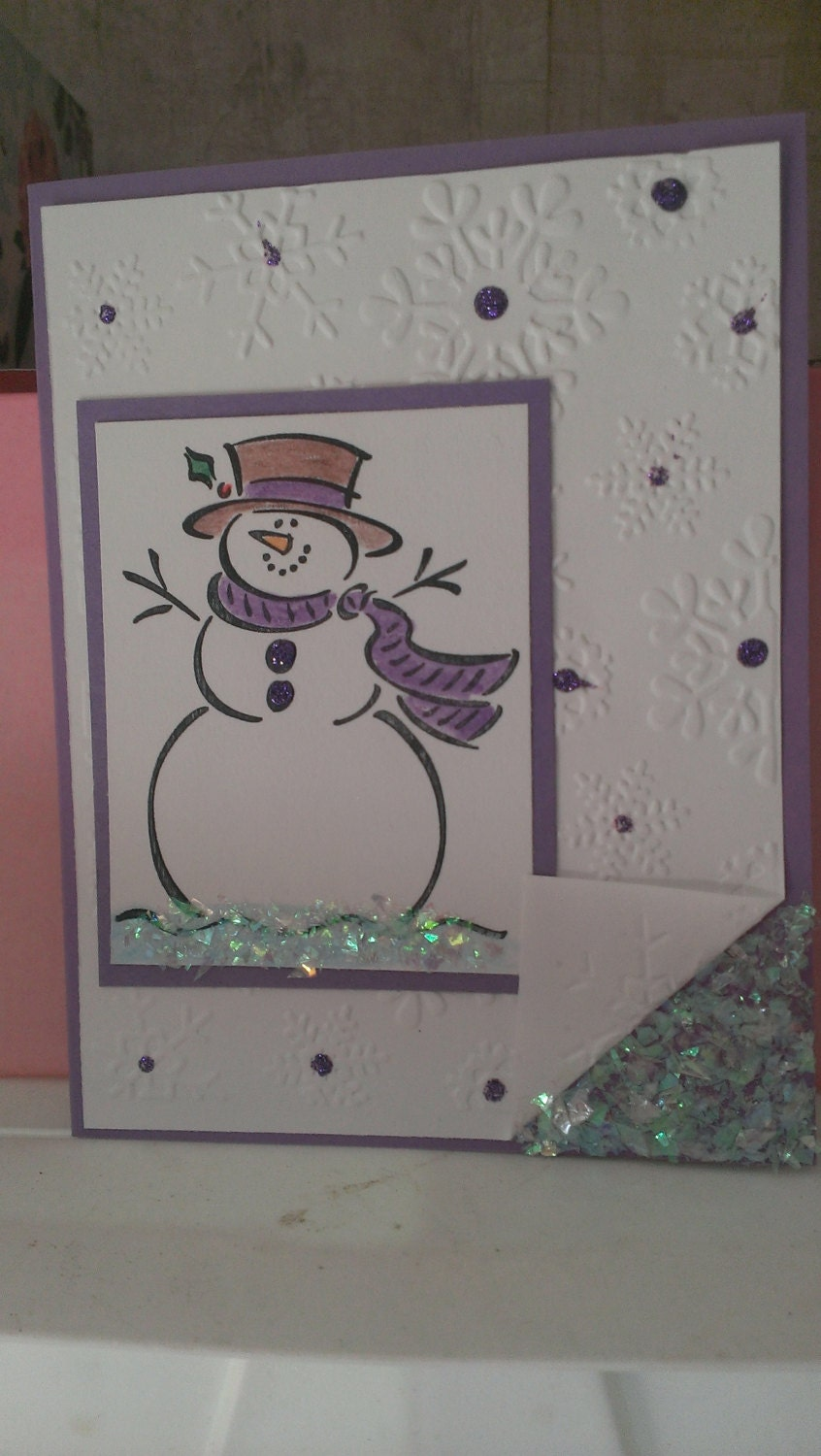 Snowman christmas greeting card handmade by
