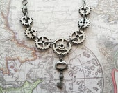 Silver Steampunk Gears Necklace