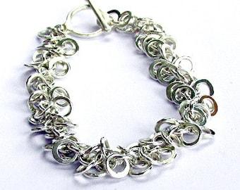 Shaggy Weave Bracelet, Sterling Silver Chainmaille Bracelet, Shaggy Bracelet