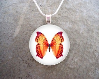 Butterfly Jewelry - Glass Pendant Necklace - Butterfly 4
