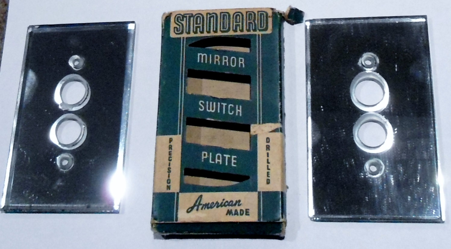 Two Antique Mirror Push Button Light Switch By