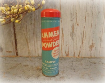 vintage ammen antiseptic baby powder tin / rare 1940's advertising sample with full contents