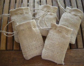 Set of TEN Burlap Jewelry Bags.............
