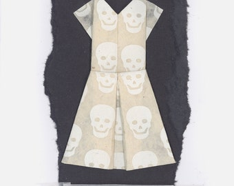 Happy Halloween Skull Origami Dress