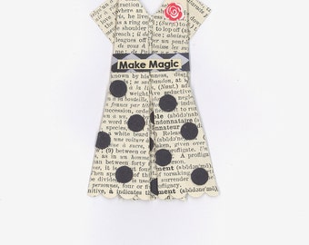 "Origami Paper Dress, ""Make Magic"",  French dictionary pages"