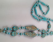 NEIGER Brothers MUMMY Bead Necklace Art Deco Czech GILDED Turquoise 1920s Vintage Beads