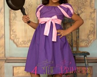 peasant dress  purple and pink dress  rapunzel inspired  princess dress  princess peasant dress