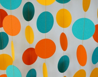 Sunset Birthday, Orange / Gold / Teal Paper Garland, Summer Party Decorations, Pool Party Decor, 10 ft. long