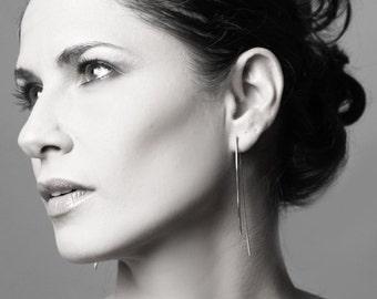 Long silver earrings- double sided earrings, minimal earrings, threader earrings, gift for her - handmade jewelry by Gioiellibyliat
