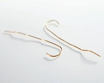 ON SALE, Free shipping, Gold earrings, long earrings, wire jewelry,threader earrings, handmade jewelry