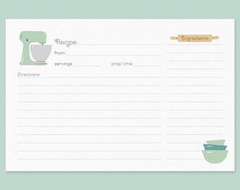 Cute Recipe Cards, Vintage Mixer Recipe Card, Recipe Card with Vintage Mixer, Mint Green Mixer Recipe Card, Bridal Shower Recipe Cards