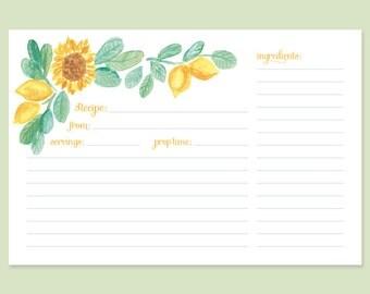 Cute Recipe Card Sunflower Lemon Cards Hostess Gift Watercolor