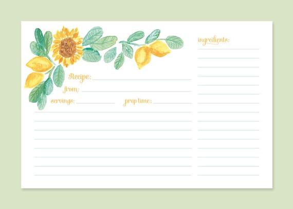 Cute Recipe Card Sunflower Lemon Sunflower Recipe Cards