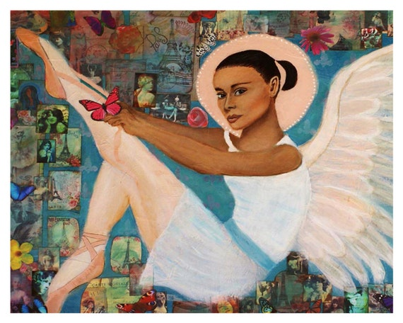 """Original Fine Art 8 by 10 print called """"Earth Angel Angelique From Fance """"by Charlotte Phillips"""