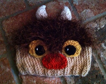 Hand Knitted Wild Thing Moishe Beanie Hat Where the Wild Things Are