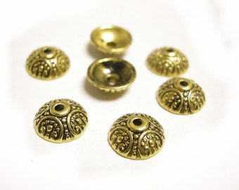 24pc antique gold finish 9.5mm metal bead caps-8223