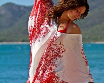 MADE TO ORDER Silk Red Coral V neck Kaftan Below the Knee by LaMolli Kaftans