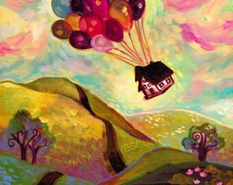 Whimsical Hot Air balloon Disney Pixar UP Inspired Print,  Art Print, Natasha Wescoat 8x10 12x16 13x19 16x20