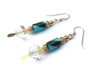 Navy Blue Stripe on Light Blue Gold Dust Furnace Glass Beads with Gold Dangle Earrings