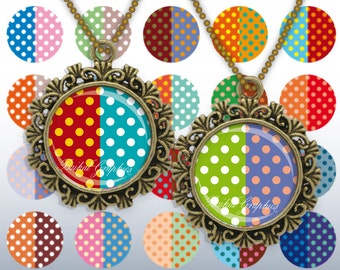 Colored Polka dot Spot 1 and 1.25 inch round Instant download Digital Collage Sheet Printable images for pendant cabochon 239