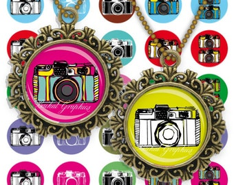 Vintage Photo Cameras Colored 1inch round Instant download Digital Collage Sheet Printable images for pendant cabochon 245